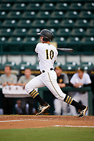 Bradenton Marauders designated hitter Jordan George (10) follows through on a swing during the second game of a doubleheader against the Tampa Yankees on June 14, 2017 at LECOM Park in Bradenton, Florida.  Tampa defeated Bradenton 5-1.  (Mike Janes/Four Seam Images)