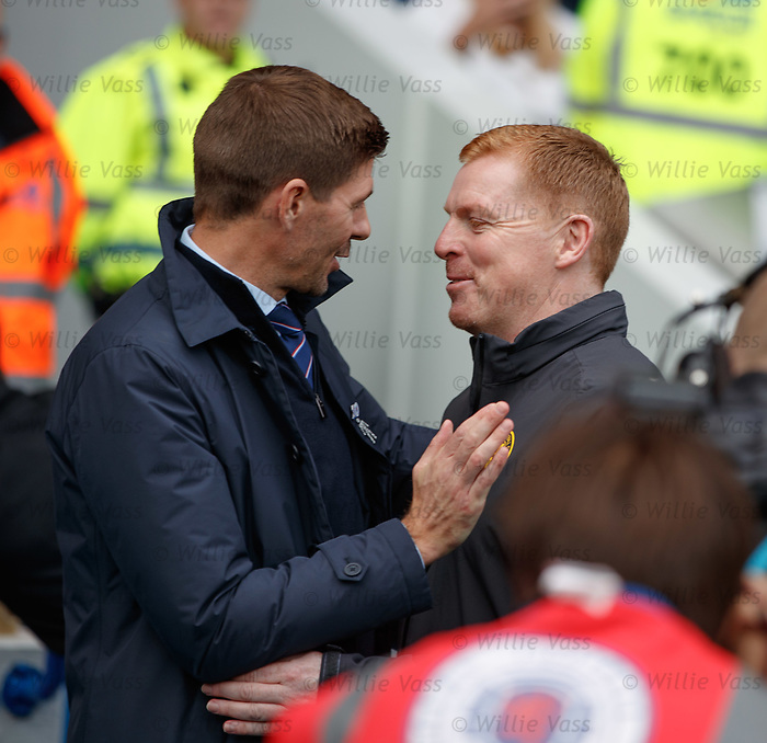01.09.2019 Rangers v Celtic: Steven Gerrard and Neil Lennon