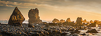 Sunset over rock formations near Rapahoe near Greymouth, West Coast, Buller Region, New Zealand, NZ