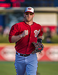 10 March 2014: Washington Nationals outfielder Bryce Harper trots back to the dugout during a Spring Training game against the Houston Astros at Space Coast Stadium in Viera, Florida. The Astros defeated the Nationals 7-4 in Grapefruit League play. Mandatory Credit: Ed Wolfstein Photo *** RAW (NEF) Image File Available ***