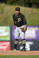 Bristol Pirates relief pitcher Argenis Romano (36) looks to his catcher for the sign against the Danville Braves at American Legion Post 325 Field on July 1, 2018 in Danville, Virginia. The Braves defeated the Pirates 3-2 in 10 innings. (Brian Westerholt/Four Seam Images)