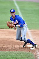 Chandler Crutcher (18) of Baker High School in Mobile, Alabama playing for the New York Mets scout team during the East Coast Pro Showcase on August 1, 2014 at NBT Bank Stadium in Syracuse, New York.  (Mike Janes/Four Seam Images)