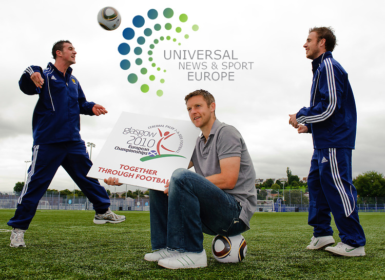 Motherwell Captain Stephen Craigan (grey top) , Blair Glynn (Left) and Graeme Paterson (right) were on hand at Toryglen Regional football centre to promote the CP ISRA European football championships. The competition is a seven-a-side tournament for players who suffer from Cerebral Palsy, have suffered a stroke or a brain injury. The competition kicks-off tomorrow at 1pm, with Scotland, Holland, Denmark, Spain, Russia, England, Finland, Republic of Ireland,ukraine, Australia taking part. ..Toryglen Regional Football Centre, Toryglen, Glasgow , Scotland .  Picture: Euan Anderson/Universal News And Sport (Scotland) 16th August 2010.