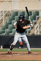 Preston Palmeiro (25) of the Delmarva Shorebirds at bat against the Kannapolis Intimidators at Kannapolis Intimidators Stadium on July 2, 2017 in Kannapolis, North Carolina.  The Shorebirds defeated the Intimidators 5-4.  (Brian Westerholt/Four Seam Images)