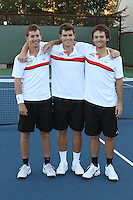 STANFORD, CA - NOVEMBER 16:  Greg Hirshman, Ted Kelly and Alex Clayton of the Stanford Cardinal during photo day on November 16, 2009 at the Taube Family Tennis Stadium in Stanford, California.