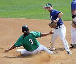 SIOUX FALLS, SD - AUGUST 18:  Matt Guiliano #3 from the Renner monarchs tries to take out Drew Heithoff #2 from the Sioux Falls Brewers in attempting to turn a double play during the first inning Sunday afternoon during the Class A Amateur Baseball Tournament at the Sioux Falls Stadium. (Photo by Dave Eggen/Inertia)