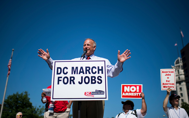 "UNITED STATES - JULY 15: Rep. Steve King, R-Iowa, speaks during the Black American Leadership Alliance's ""D.C. March for Jobs"" rally at Freedom Plaza in Washington on Monday, July 15, 2013. The rally and march were held to call attention to the impact that illegal immigration has on wages, and lost employment opportunities for low-skilled Americans. (Photo By Bill Clark/CQ Roll Call)"