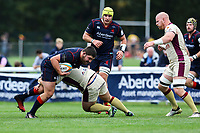 Phil Cringle of London Scottish gets tackled during the Greene King IPA Championship match between London Scottish Football Club and Doncaster Knights at Richmond Athletic Ground, Richmond, United Kingdom on 30 September 2017. Photo by Jason Brown / PRiME Media Images.