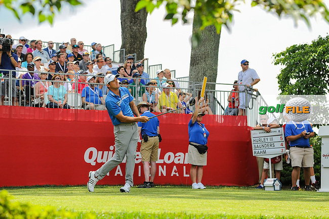 Sam Saunders (USA) watche his tee shot on 1 during round 2 of the 2016 Quicken Loans National, Congressional Country Club, Bethesda, Maryland, USA. 6/24/2016.<br /> Picture: Golffile | Ken Murray<br /> <br /> <br /> All photo usage must carry mandatory copyright credit (&copy; Golffile | Ken Murray)