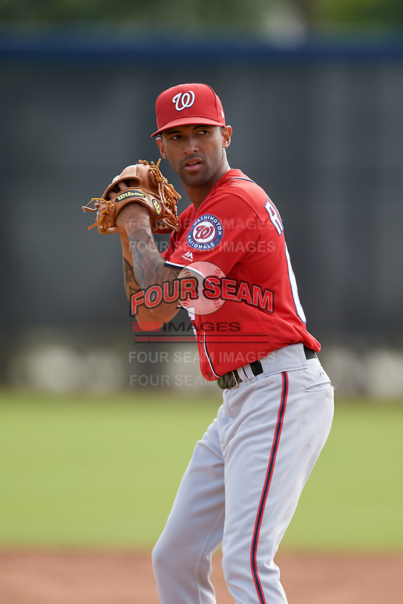 Washington Nationals pitcher Mariano Rivera III (66) doing pitching drills before a Minor League Spring Training game against the Miami Marlins on March 28, 2018 at FITTEAM Ballpark of the Palm Beaches in West Palm Beach, Florida.  (Mike Janes/Four Seam Images)