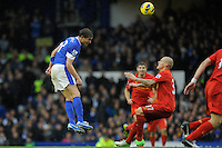 28.10.2012 Liverpool, England. Nikica Jelavic  of Everton  in action during the Premier League game between Everton and Liverpool  from Goodison Park ,Liverpool