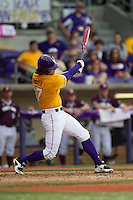 LSU Tigers second baseman Jared Foster (17) swings the bat during the Southeastern Conference baseball game against the Texas A&M Aggies on April 25, 2015 at Alex Box Stadium in Baton Rouge, Louisiana. Texas A&M defeated LSU 6-2. (Andrew Woolley/Four Seam Images)