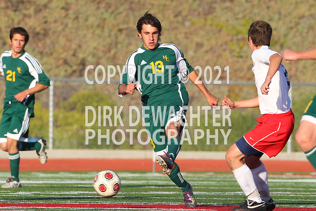 Redondo Beach, CA 02/01/10 - Augie Diaz (Mira Costa #13) in action during the Bay League Boys Varsity Soccer game between Mira Costa and Redondo Union.