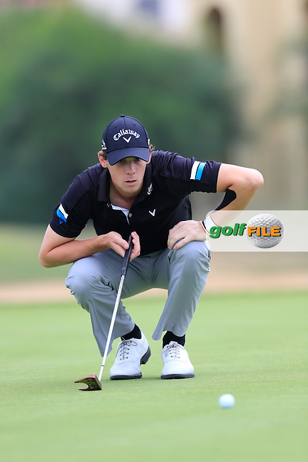 Thomas PIETERS (BEL) lines up his putt on the 8th green during Saturday's Round 3 of the Portugal Masters 2015 held at the Oceanico Victoria Golf Course, Vilamoura Algarve, Portugal. 15-18th October 2015.<br /> Picture: Eoin Clarke | Golffile<br /> <br /> <br /> <br /> All photos usage must carry mandatory copyright credit (&copy; Golffile | Eoin Clarke)