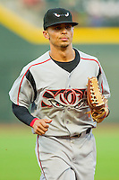 California League All-Star center fielder Rico Noel #1 of the Lake Elsinore Storm jogs off the field at the end of an inning during the 2012 California-Carolina League All-Star Game at BB&T Ballpark on June 19, 2012 in Winston-Salem, North Carolina.  The Carolina League defeated the California League 9-1.  (Brian Westerholt/Four Seam Images)