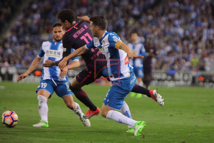 League Santander 2016/2017. Game: 35.<br /> RCD Espanyol vs FC Barcelona: 0-3.<br /> Pablo Piatti, Neymar &amp; Javi Lopez.