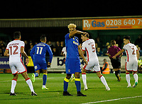 AFC Wimbledon's Lyle Taylor sees his spot kick saved during the Sky Bet League 1 match between AFC Wimbledon and MK Dons at the Cherry Red Records Stadium, Kingston, England on 22 September 2017. Photo by Carlton Myrie / PRiME Media Images.