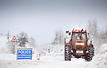 Pic Kenny Smith, Tel 07809 450119,  The B966 leading to the A912 was closed today due to fallen trees under the weight of the snow