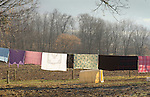 Amish cloathes line with blankets and quilts.