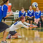 1 November 2015: Yeshiva University Maccabee Defensive Specialist and Outside Hitter Carol Jacobson, a Senior from Seattle, WA, digs against the SUNY College at Old Westbury Panthers at SUNY Old Westbury in Old Westbury, NY. The Panthers edged out the Maccabees 3-2 in NCAA women's volleyball, Skyline Conference play. Mandatory Credit: Ed Wolfstein Photo *** RAW (NEF) Image File Available ***