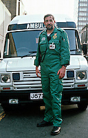 London Ambulance Service paramedic stood in front of his ambulance. This image may only be used to portray the subject in a positive manner..©shoutpictures.com..john@shoutpictures.com