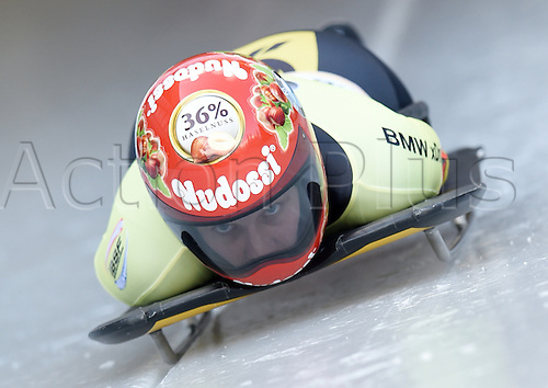26.02.2016. Koenigssee,  Berchtesgaden, Germany.  German Skeleton pilot Tina Hermann at the Bobsleigh & Skeleton World Cup on the artificial ice channel at Koenigssee