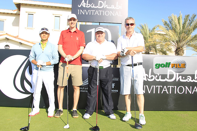 Henry Kim, Ian Harvey, Billy Dewsall and Aidan Heavey on the 10th tee to start their match during the 2015 Abu Dhabi Invitational Am-Am event held at Yas Links Golf Course, Abu Dhabi.: Picture Eoin Clarke, www.golffile.ie: 1/26/2015