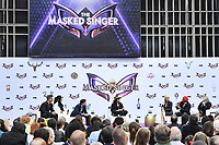 """LOS ANGELES - JUNE 4: From left: Robin Thicke, Nicole Scherzinger, Ken Jeong, Ricki Lake, Jenny McCarthy, Nick Cannon and Marina Toybina attend an Emmy FYC event for Fox's """"The Masked Singer"""" at Westfield Century City on June 4, 2019 in Los Angeles, California. (Photo by Vince Bucci/Fox/PictureGroup)"""