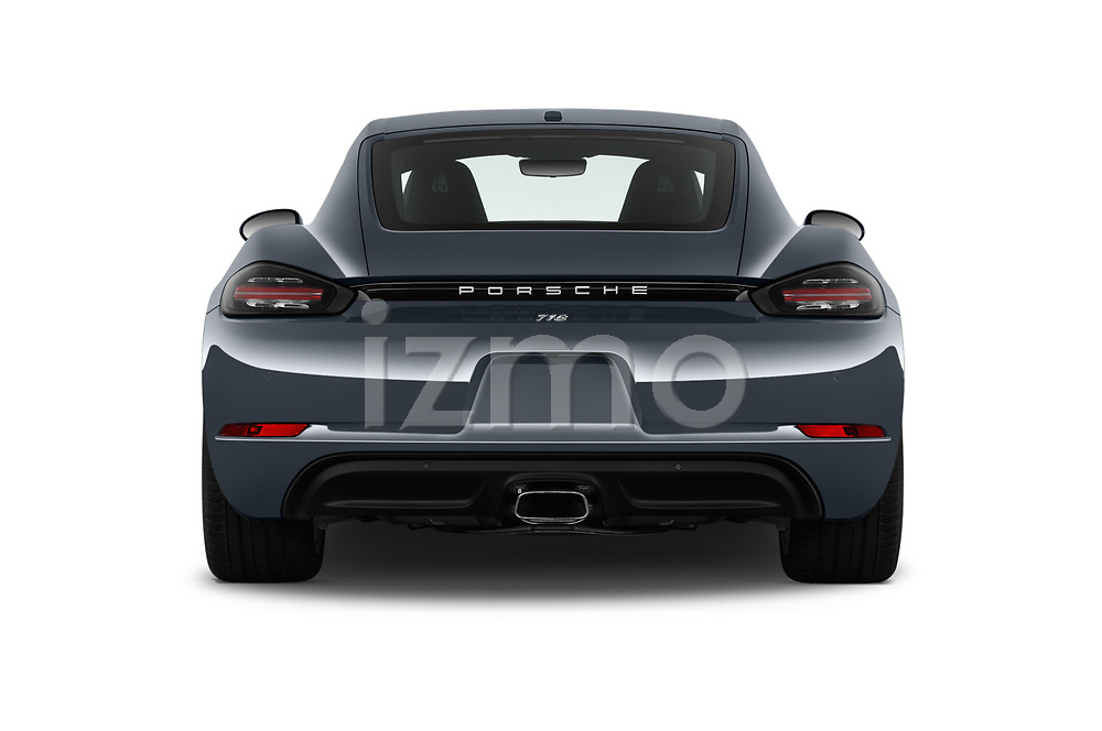 Straight rear view of 2017 Porsche 718 Cayman 3 Door Coupe Rear View  stock images