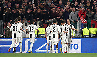 Football Soccer: UEFA Champions UEFA Champions League quarter final second leg Juventus - Ajax, Allianz Stadium, Turin, Italy, March 12, 2019. <br /> Juventus' Cristiano Ronaldo (r) celebrates after scoring with his teammates during the Uefa Champions League football match between Juventus and Ajax  at the Allianz Stadium, on March 12, 2019.<br /> UPDATE IMAGES PRESS/Isabella Bonotto