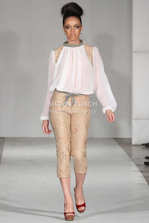 Model walks runway in an outfit from the High School of Fashion Industries Spring Summer 2015 collection, during Fashion Week Brooklyn Spring Summer 2015.