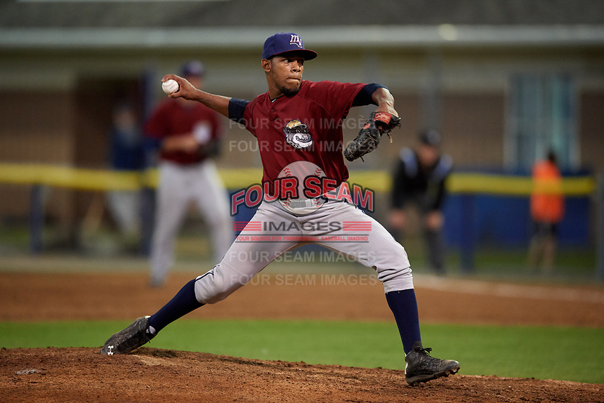 Mahoning Valley Scrappers relief pitcher Maiker Manzanillo (48) delivers a pitch during a game against the Batavia Muckdogs on August 30, 2017 at Dwyer Stadium in Batavia, New York.  Batavia defeated Mahoning Valley 5-1.  (Mike Janes/Four Seam Images)
