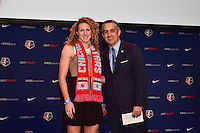 Los Angeles, CA - Thursday January 12, 2017: Morgan Proffitt, NWSL Commissioner Jeff Plush during the 2017 NWSL College Draft at JW Marriott Hotel.