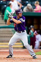 Andy Lasher (7) of the Evansville Purple Aces at bat during a game against the Missouri State Bears at Hammons Field on May 12, 2012 in Springfield, Missouri. (David Welker/Four Seam Images)
