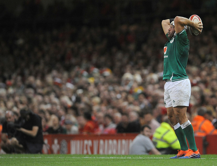 Ireland's Rory Best prepares to throw the ball into the lineout <br /> <br /> Photographer Ian Cook/CameraSport<br /> <br /> 2019 Under Armour Summer Series - Wales v Ireland - Saturday 31st August 2019 - Principality Stadium - Cardifff<br /> <br /> World Copyright © 2019 CameraSport. All rights reserved. 43 Linden Ave. Countesthorpe. Leicester. England. LE8 5PG - Tel: +44 (0) 116 277 4147 - admin@camerasport.com - www.camerasport.com
