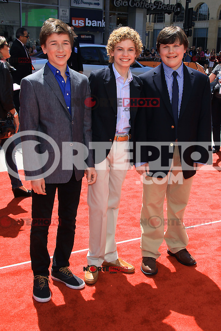 """Skyler Gisondo, Lance Chantiles-Wertz, and Robert Capron attending The Los Angeles Premiere of """"The Three Stooges"""" held at the Grauman's Chinese Theatre in Hollywood, California on April 7, 2012. Credit: mpi22/MediaPunch Inc."""