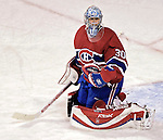 16 January 2007: Montreal Canadiens goaltender David Aebischer of Switzerland warms up prior to facing the Vancouver Canucks at the Bell Centre in Montreal, Canada. The Canucks defeated the Canadiens 4-0.Mandatory Credit: Ed Wolfstein Photo *** Editorial Sales through Icon Sports Media *** www.iconsportsmedia.com