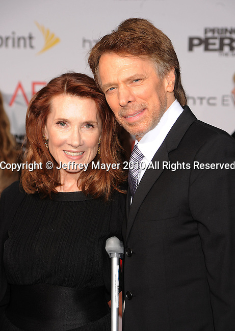 "HOLLYWOOD, CA. - May 17: Jerry Bruckheimer and wife Linda Bruckheimer arrive at the ""Prince of Persia: The Sands of Time"" Los Angeles Premiere held at Grauman's Chinese Theatre on May 17, 2010 in Hollywood, California."