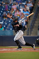 Jupiter Hammerheads James Nelson (20) bats during a Florida State League game against the Tampa Tarpons on July 26, 2019 at George M. Steinbrenner Field in Tampa, Florida.  Tampa defeated Jupiter 4-3 in the second game of a doubleheader.  (Mike Janes/Four Seam Images)