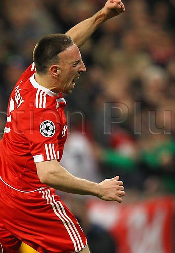 30 03 2010  Frank Ribery Bayern goal celebration  After his goal to equal 1 1.  FC Bayern Munich Manchester United Football Champions League Quarter-finals Home game Munich