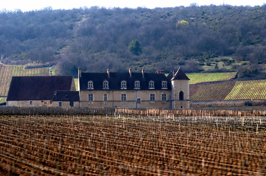 Chateau du clos de Vougeot and vineyard cote de nuits burgundy france