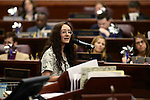 Nevada Poetry Out Loud State Champion Dominique Groffman, 18, performs her poem on the Assembly floor at the Legislative Building in Carson City, Nev., on Wednesday, April 8, 2015. Groffman will compete in the national finals in Washington, D.C. later this month. <br /> Photo by Cathleen Allison