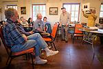 Al Weber discusses the making of the previous  Mission Portfolio at Mission San Antonio de Padua, California,  during a class at the 3rd Al Weber Mission Portfolio Workshop, April 2011.