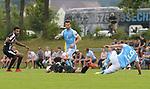 20.07.2018, Stadion am Galgenberg, Ottobeuren, GER, FSP, TSV 1860 M&uuml;nchen / Muenchen vs SV Sandhausen, im Bild Mohamed Gouaida (Sandhausen, #8), Erik Zenga (Sandhausen, #17) nach Foul von Sascha M&ouml;lders / Moelders (Muenchen, #9) am Boden, Quirin Moll (Muenchen, #5)<br /> <br /> Foto &copy; nordphoto / Hafner