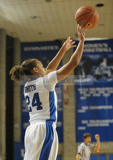 Kentucky's Amber Smith (24) shoots a three pointer during the second half of the University of Kentucky Women's basketball game against Mississippi State at Memorial Coliseum in Lexington, Ky., on 1/8/12. Uk won the game 88-40. Photo by Mike Weaver | Staff