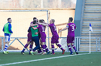 The Carlisle players celebrate the opening goal during Colchester United vs Carlisle United, Sky Bet EFL League 2 Football at the JobServe Community Stadium on 23rd February 2019