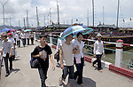 Halong-Vietnam, Ha Long - Viet Nam - 22 July 2005---Local tourists and passengers on the jetty for the boats to the famous Halong Bay, a UNESCO World Natural Heritage Site---culture, tourism, traffic, transport, people---Photo: Horst Wagner/eup-images