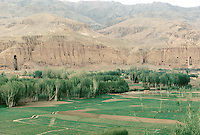 A view of the Bamiyan valley with is two giant Buddha statue and is hundreds of monastery, temple and habitation, in 1995..These magnificent colossal statues, created during the 3rdâ4th centuries A.D., attracted pilgrims for centuries, far beyond the time when Buddhism languished in India following the disastrous visitation of the Hephthalite Huns in the 5th century, the subsequent resurgence of Hinduism, and the arrival of iconoclastic Islam in the 7th century..The entire niche was once covered with paintings dating from i he late 5th to the early 7th centuries.