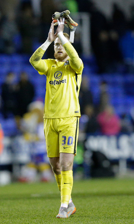 Blackburn Rovers' Jason Steele applauds the away fans at full time<br /> <br /> Photographer Craig Mercer/CameraSport<br /> <br /> Football - The Football League Sky Bet Championship - Reading v Blackburn Rovers - Sunday 20th December 2015 - Madejski stadium - Reading<br /> <br /> &copy; CameraSport - 43 Linden Ave. Countesthorpe. Leicester. England. LE8 5PG - Tel: +44 (0) 116 277 4147 - admin@camerasport.com - www.camerasport.com