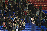 Bolton Wanderers 3 Liverpool 1, 21/01/2012. Reebok Stadium, Premier League. Victorious manager Owen Coyle taking the applause of his supporters at the Reebok Stadium, after Bolton Wanderers took on Liverpool in a Barclays Premier League game. The match was won by Bolton by 3 goals to 1, watched by a near-capacity crowd of 26,854. The win lifted Bolton out of the relegation places in England's top division, while Liverpool remained seventh. Photo by Colin McPherson.